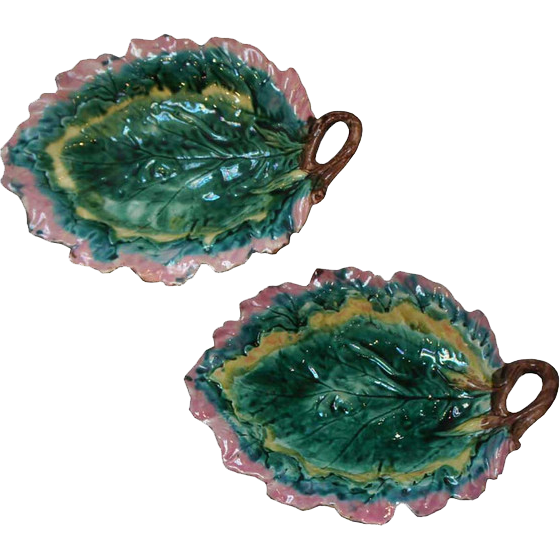 Pair of American Griffen, Smith and Hill Majolica Leaf Trays