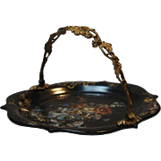 English Victorian Mother-of-Pearl and Papier-Mache Cake Basket