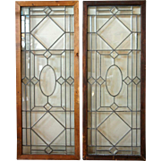 Pair of American Late Victorian Leaded Glass Transom Windows