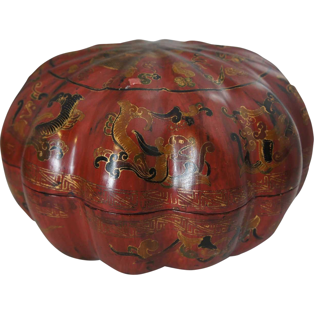 Chinese Red Lacquered Round Melon Shaped Box