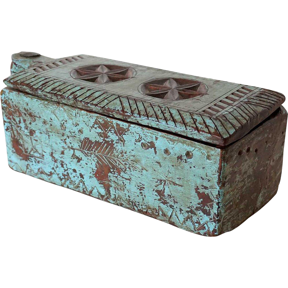 Indian Blue Painted Teak Box