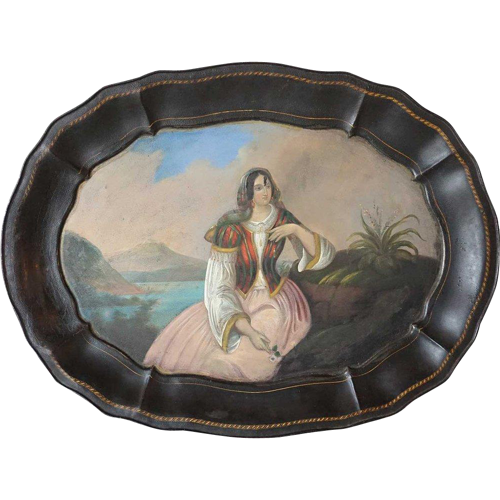 Large Italian Hand Painted Toleware Tray