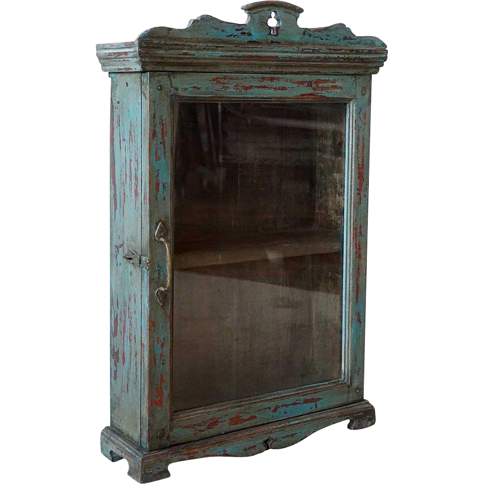 Small Anglo Indian Blue Painted Glazed Door Cabinet