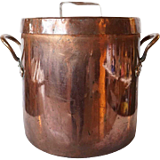 Large English Victorian Copper Cooking Pot with Lid