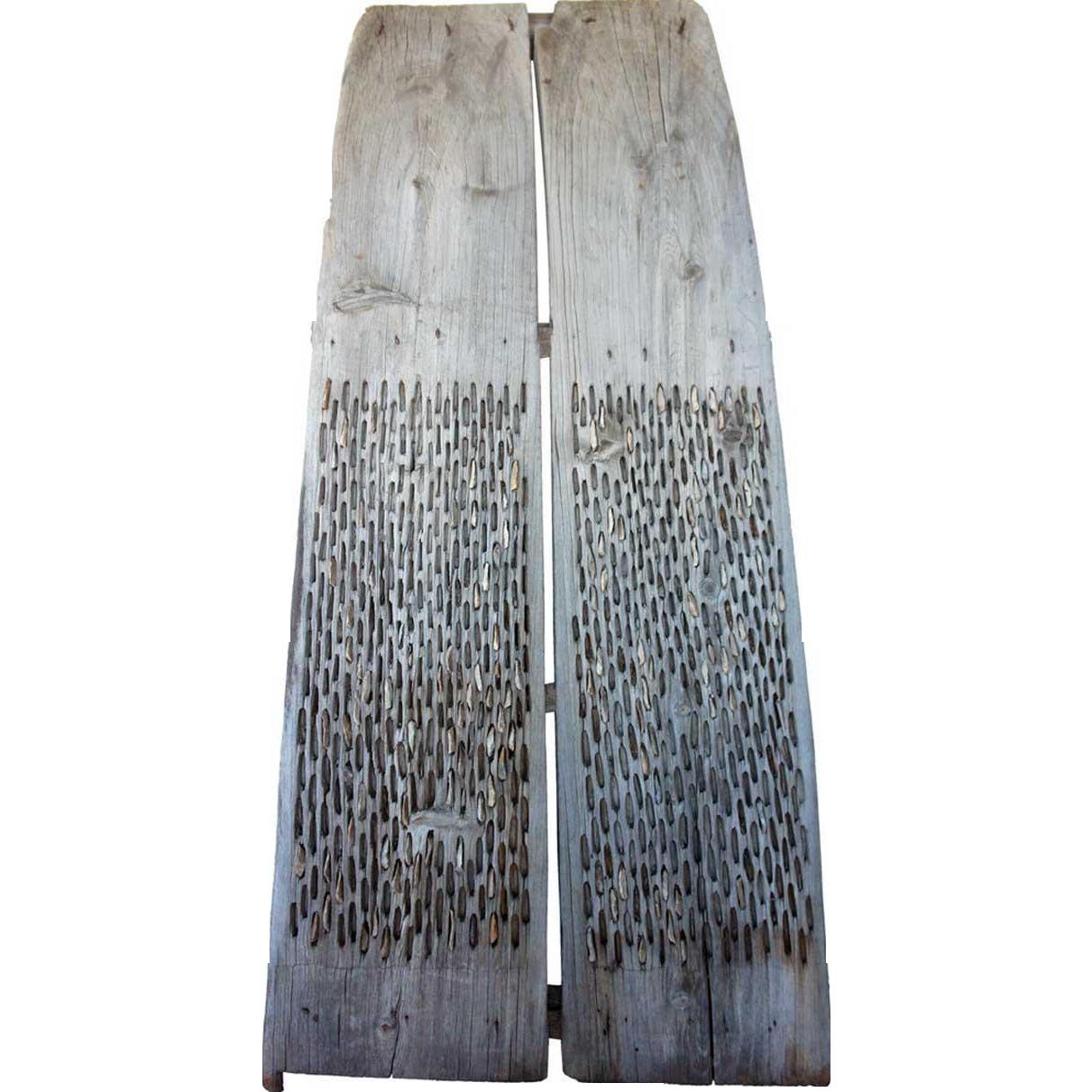 Spanish Primitive Pine and Stone Threshing Harrow/Agricultural Raking Tool
