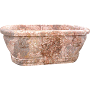 Italian Style Neoclassical Pink Variegated Marble Freestanding Bathtub