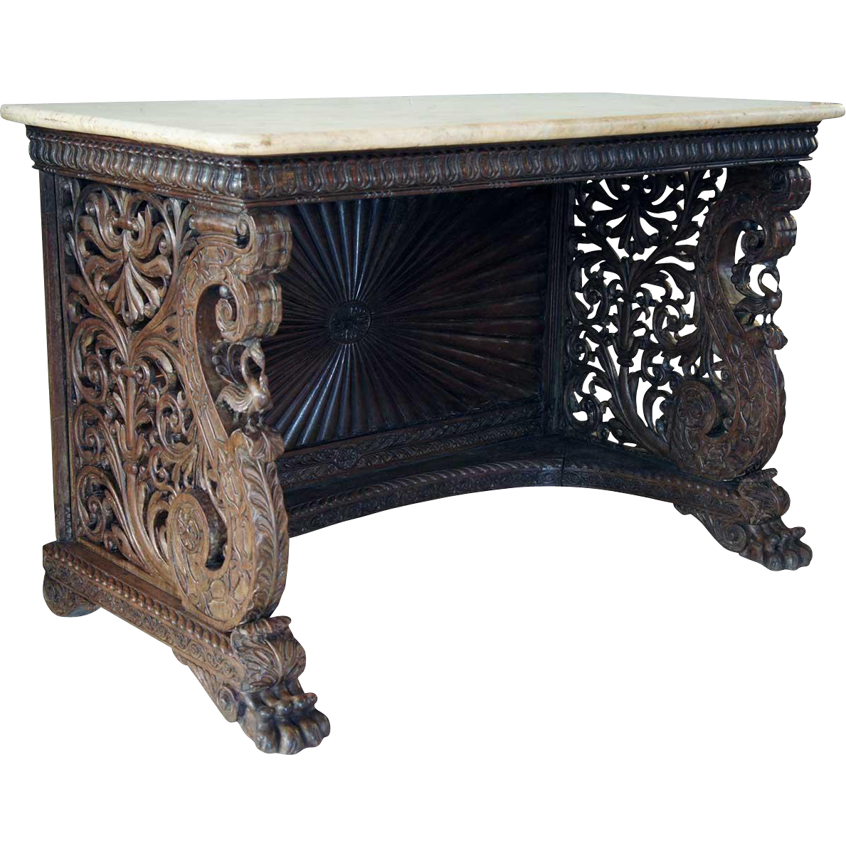 Anglo Indian Rosewood and Marble Console Table