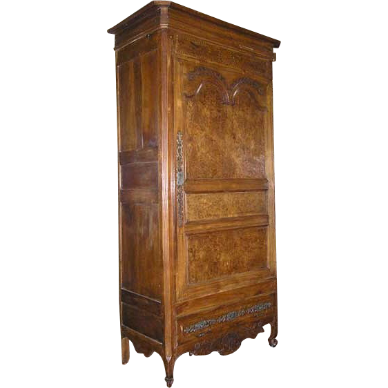 French Louis XIV Style Burl Elm and Cherrywood Bonnetiere
