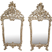 Pair of Large Early Italian Baroque Silver Gilt Pier Mirrors