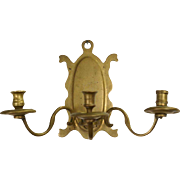 Early Dutch Brass Three-Candle Arm Wall Sconce