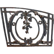 French Louis XVI Style Wrought Iron Arched Grille Transom