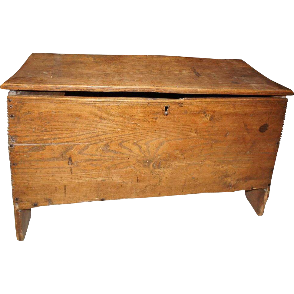 Early English or Welsh Elm Six-Plank Coffer
