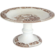 English Brown Transferware Pottery Compote