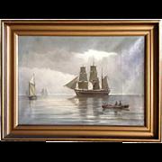 Norwegian Oil on Canvas Painting, Maritime Scene