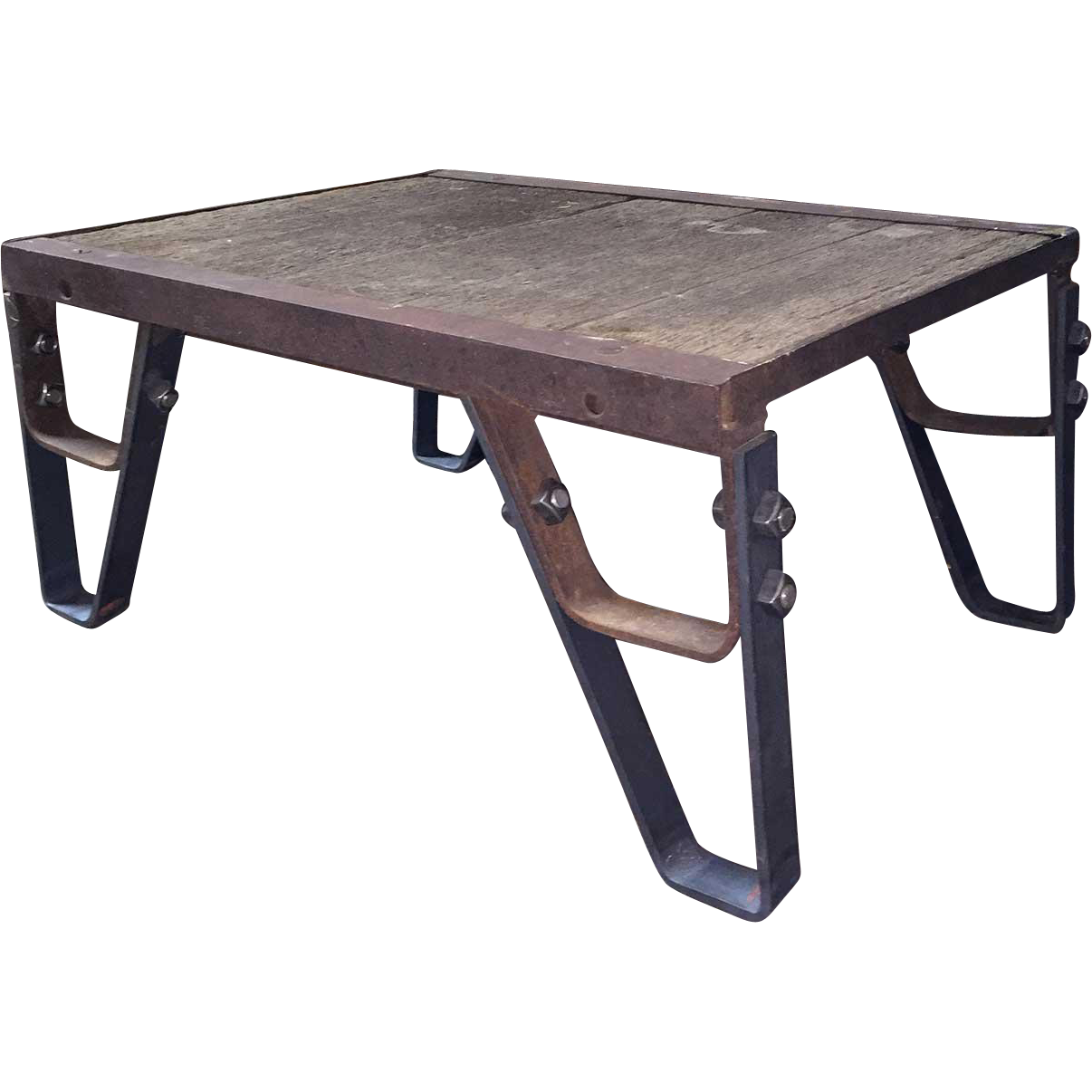 Vintage Industrial Iron and Oak Plank Pallet as a Low Table