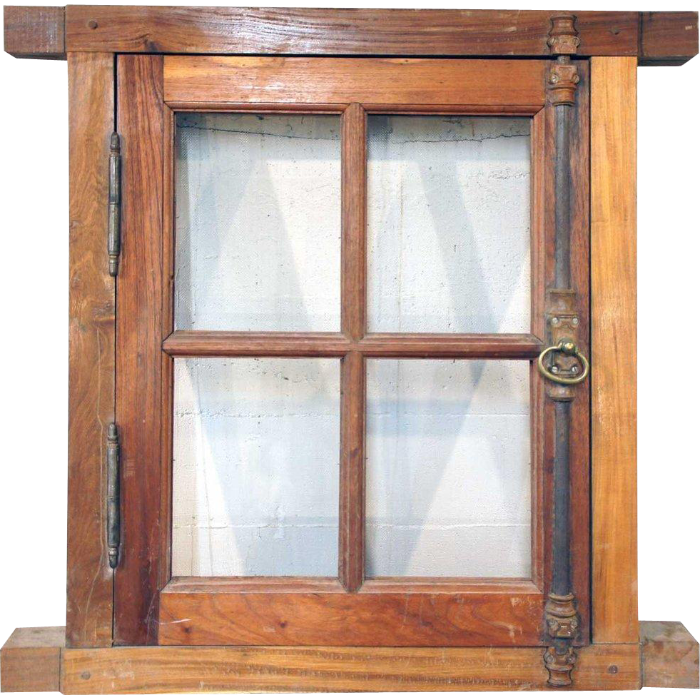 Vintage Small Argentine Cedar Frame Window