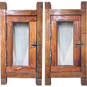 Pair of Small Vintage Argentine Cedar Windows