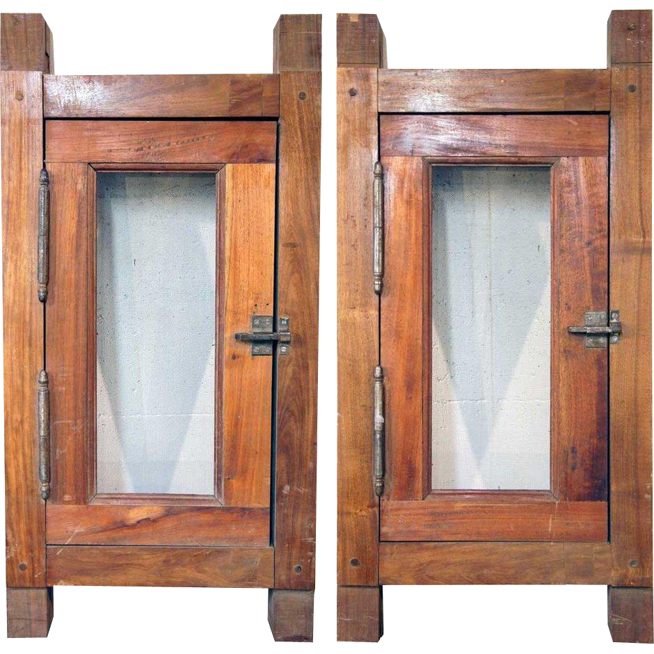 Pair of Small Vintage Argentine Cedar Windows