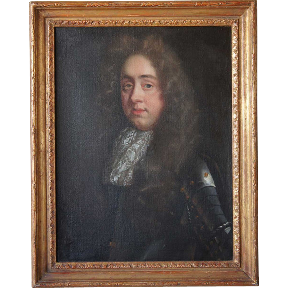 English School Oil on Canvas Portrait of a Nobleman in Armor