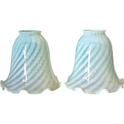 Pair of American Glass Opalescent White Swirl Lamp Shades