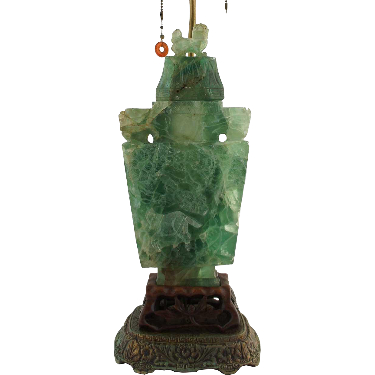 Chinese Green Quartz Vase Table Lamp