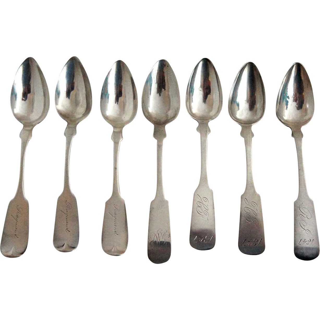 Seven American Coin Silver Fiddle Pattern Spoons