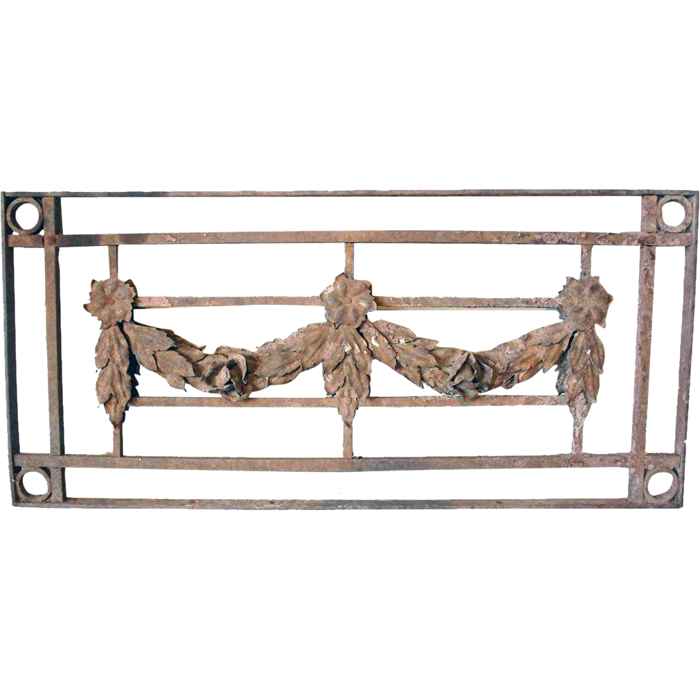 Scarce Hand Forged Iron Transom