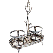 Dutch Silver Two-Bottle Cruet Stand