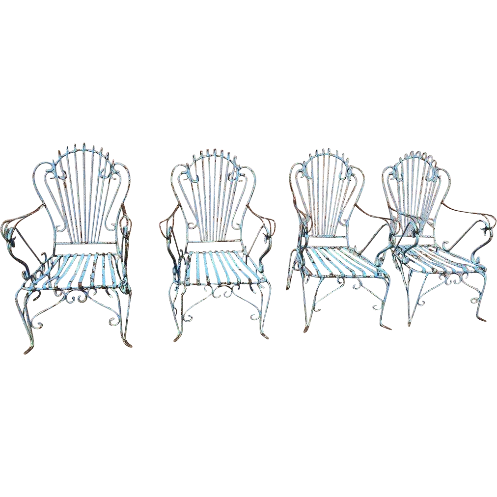 Set of Four Argentine Blue Painted Wrought Iron Garden Armchairs
