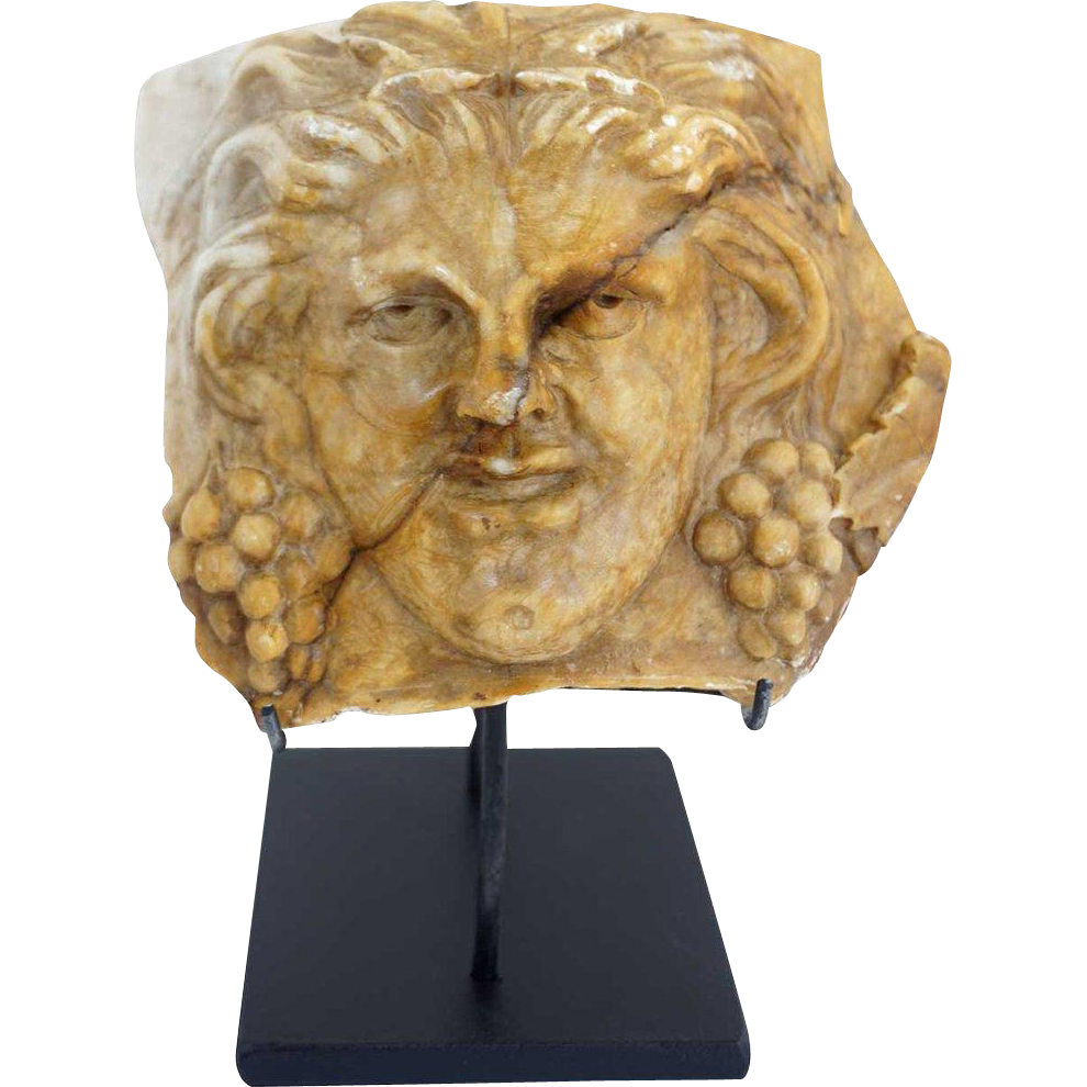 Egyptian Revival Terracotta Bacchus Fragment on Custom Stand