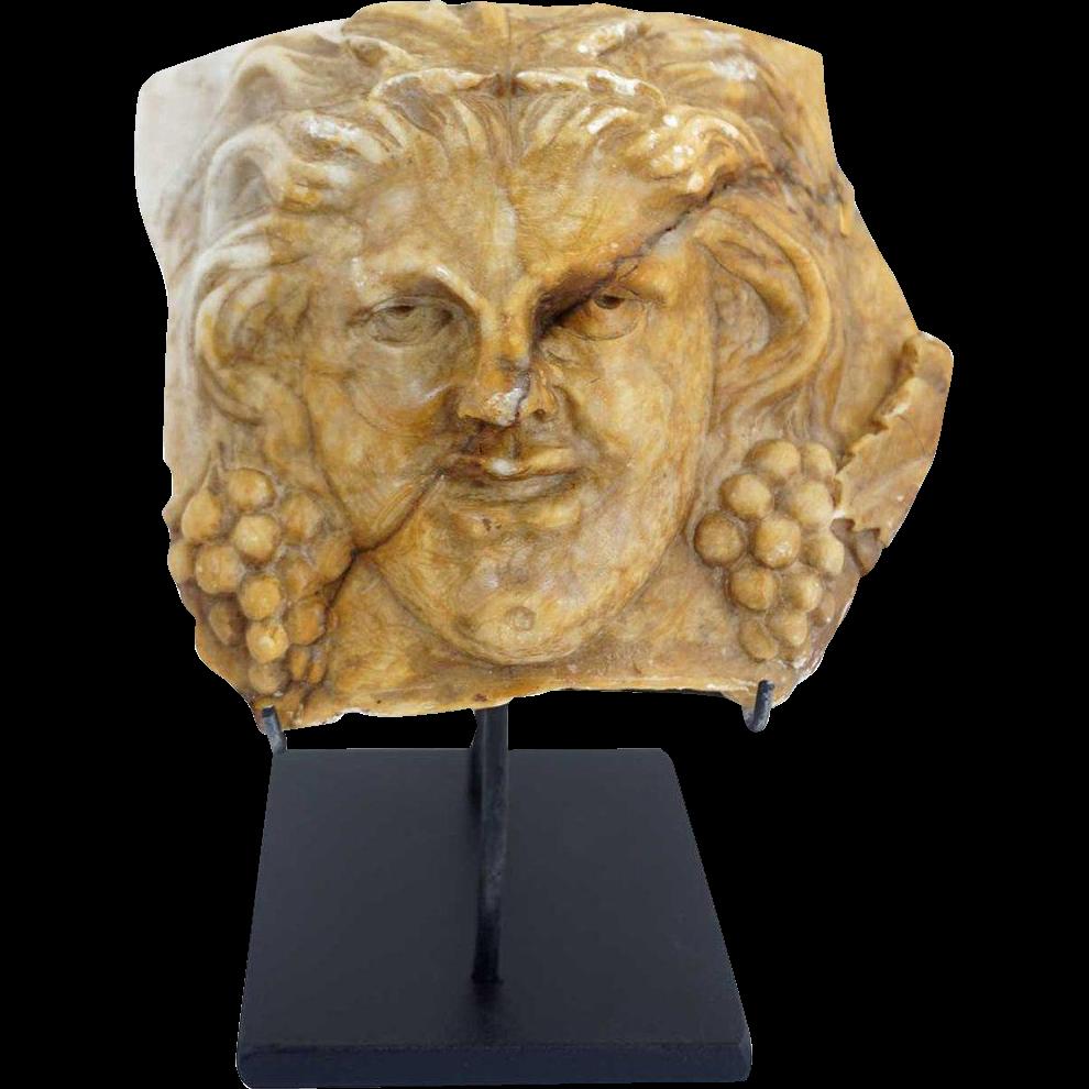 Egyptian Revival Terracotta Bacchus Fragment on Custom Stand