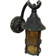 Cast Iron and Amber Glass Exterior Bracket Lantern