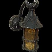 Cast Iron and Amber Glass Exterior Bracket Lantern