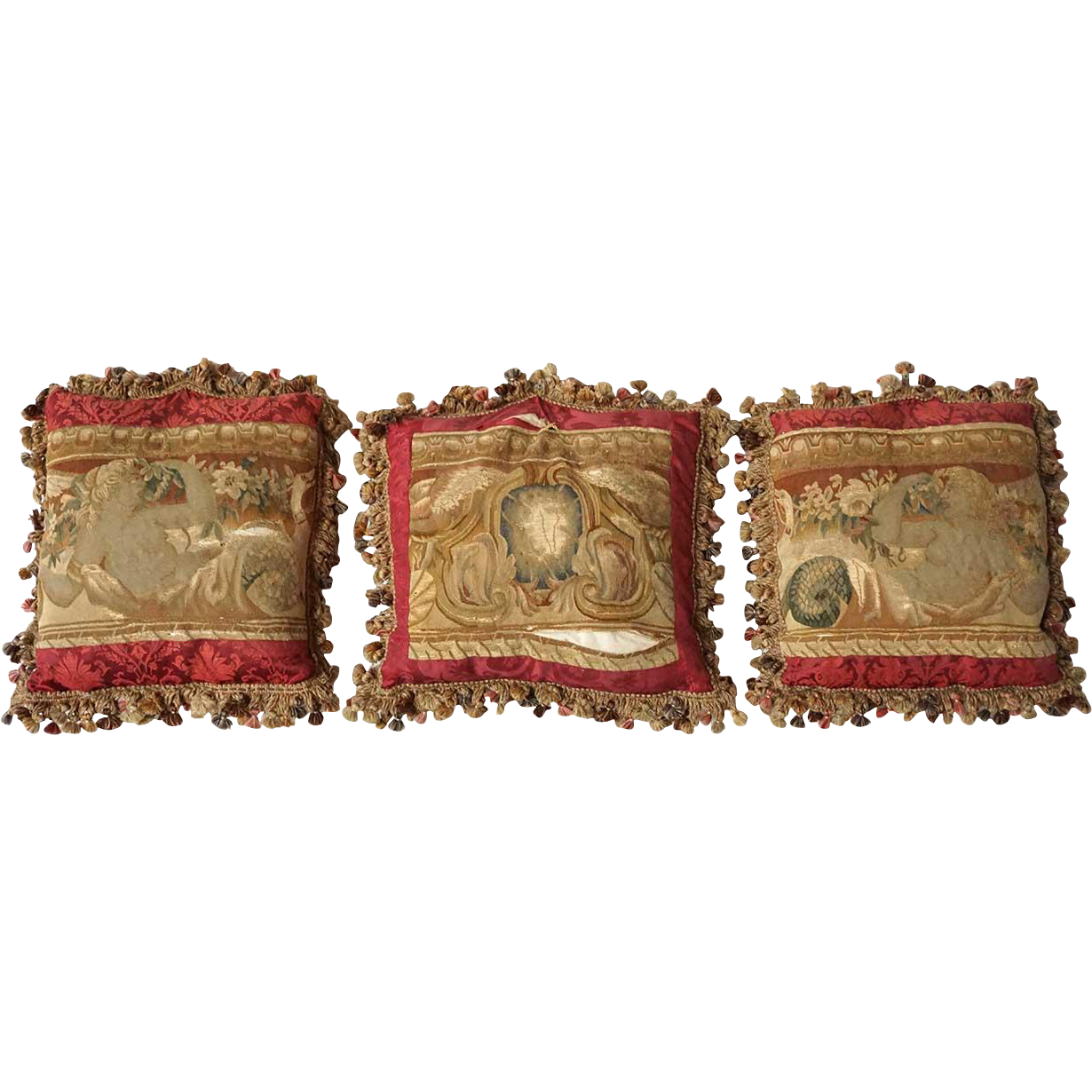 Set of Three French Aubusson Tapestry Throw Pillows