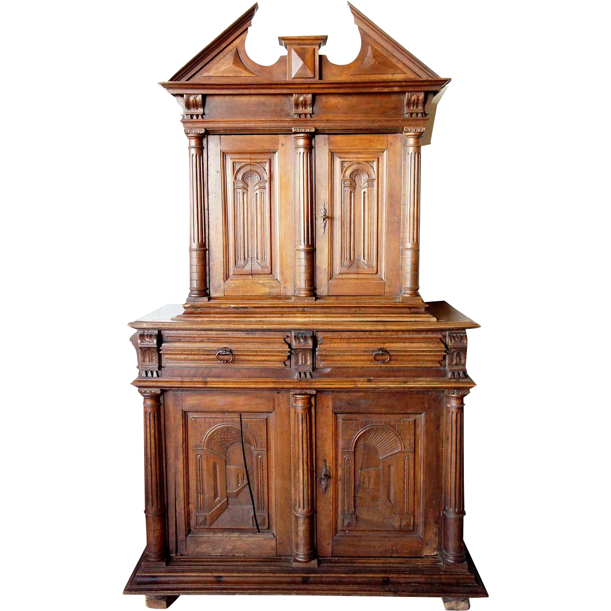 French Louis XIII Walnut Buffet a Deux Corps