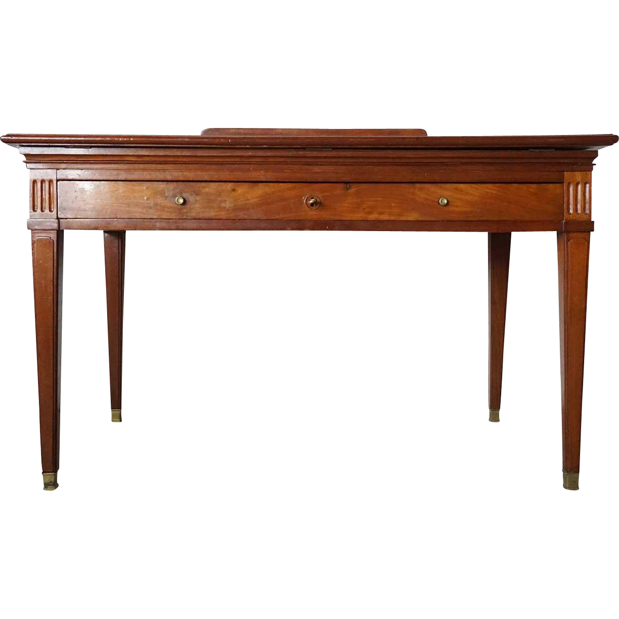 French Leather Top Brass Mounted Mahogany Architect's Desk