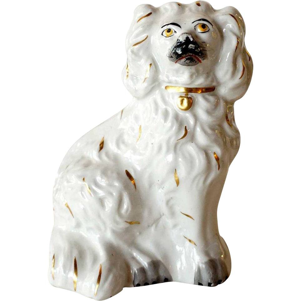 Small English Victorian Staffordshire Pottery Spaniel Dog