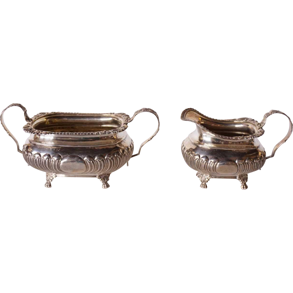 English George III Samuel Hennell Sterling Silver Sugar and Creamer