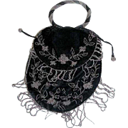 Victorian Black Velvet Silver Beaded Evening Satchel Purse