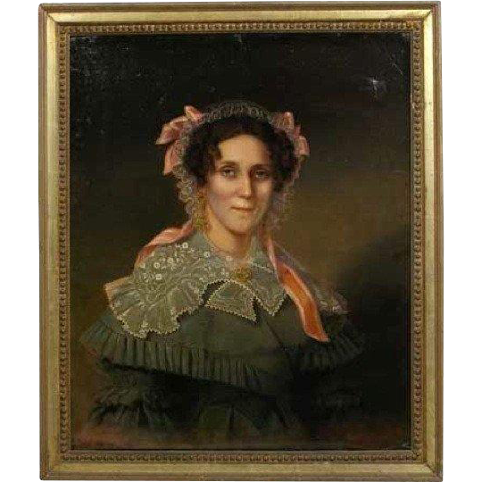 American School Oil Painting on Canvas, Portrait of a Lady