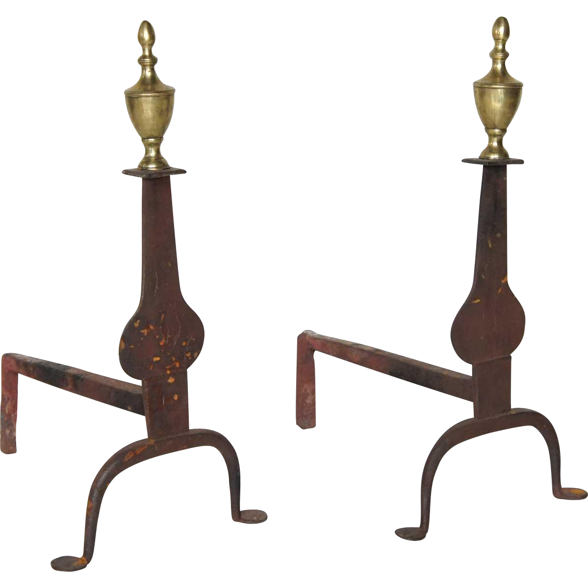 Pair of English Georgian Forged Iron and Brass Andirons