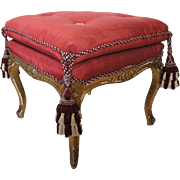 French Louis XV Style Gilt Red Upholstered Stool