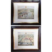 Pair of English Johannes Kip Colored Engravings, Architectural Views of Country Estates 1768 with  Coat of Arms