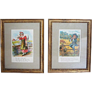 Pair of American Chromolithograph Nursery Rhyme Book Illustrations 1908