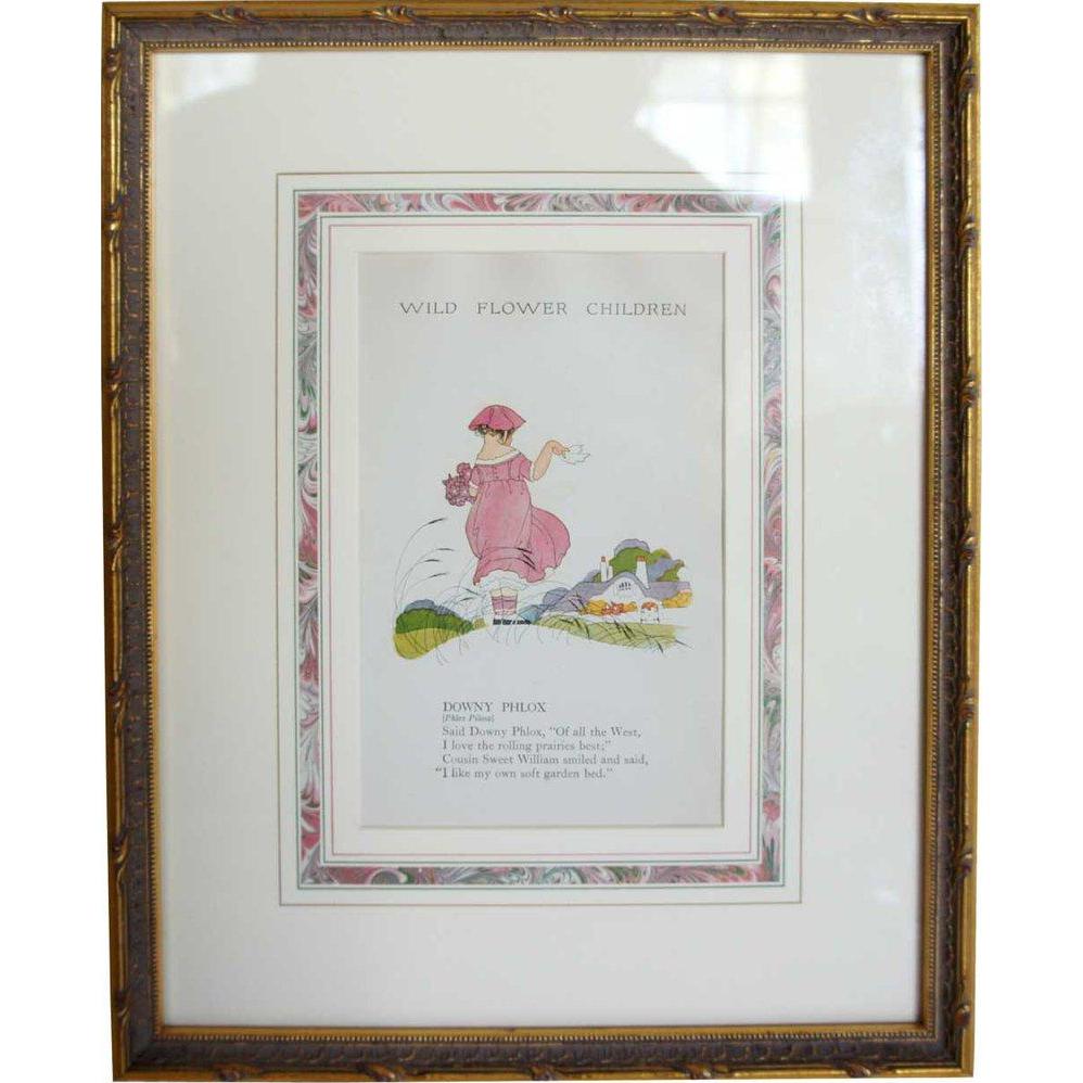 Vintage Children's Book Illustration, Wild Flower Children