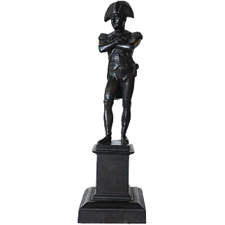 French Bronze Napoleon Statuette on Square Pedestal
