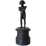 French Cast Iron Napoleon Statuette on Round Pedestal