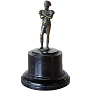 French Miniature Bronze Napoleon Statuette on Round Pedestal