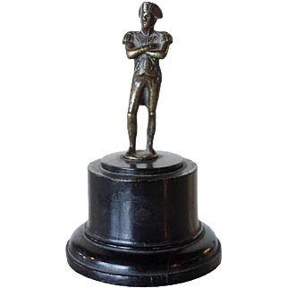 French Miniature Bronze Napoleon Statuette on Round Pedestal