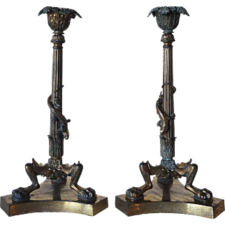 Pair of French Louis XVI Style Gilt Bronze Lizard Candlesticks